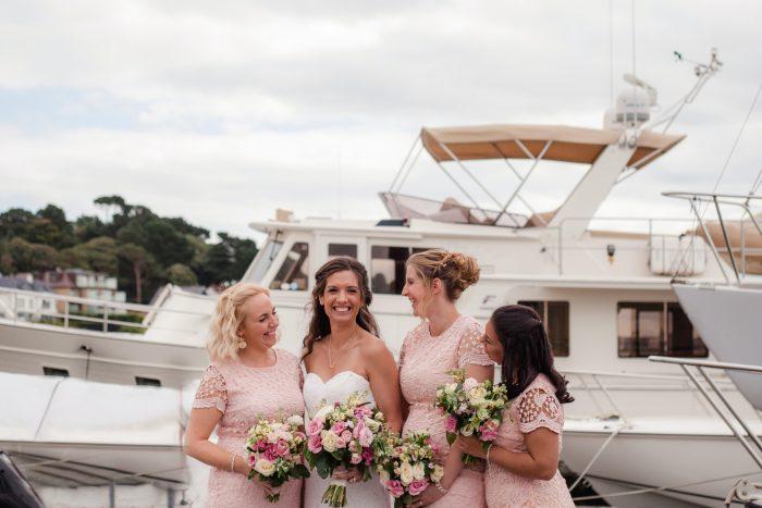 Bride and Bridesmaids Harbour Marina Wedding