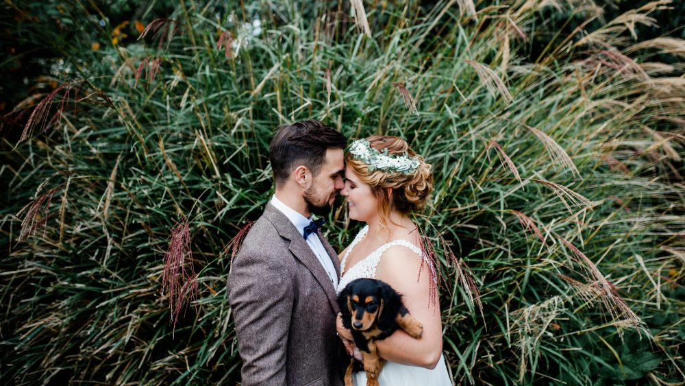 Bride Groom & Puppy Portrait in the Garden