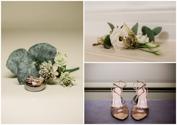 Shoes, flowers and ring at Wedding